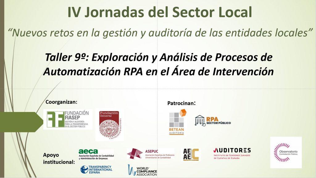 Taller 9 . IV Jornadas del Sector Local. FIASEP 020721